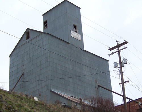 E.C. Hay & Sons grain elevator in Harrison, Idaho overlooks the Trail of the Coeur d'Alenes