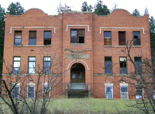 Old brick school in Harrison, ID