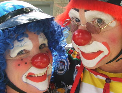 Clowns at Old Time Picnic parade